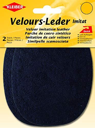 Kleiber + Co.GmbH Velour-Bügelflecken oval, 38% Acryl/32% Baumwolle/30% Viskose, dunkelblau, 13x10 cm
