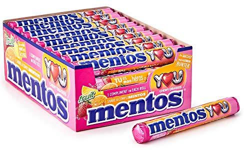 Mentos - Boîte de 40 Rouleaux Fruits - Bonbons Mentos aux Fruits, Tendres et Croquants, 3 Fruits Assortis - Fraise, Orange, Citron - Format Idéal pour Anniversaires - 40 Rouleaux à Partager