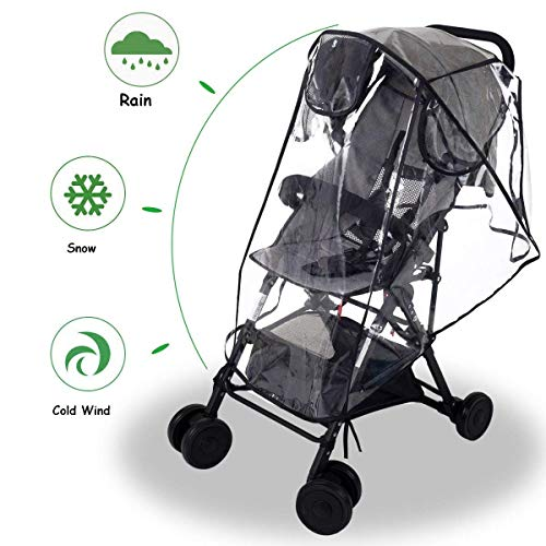 Universal Rain Cover for Buggy Odorless with No Phthalates and No PVC Prams and Pushchairs EVA Material Storage Bag Included Wind and Snow Strollers for Traveling with Baby in The Rain