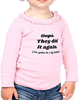 They Did Gonna Be A Big Brother! Cotton Toddler Long Sleeve Ruffle Shirt Top