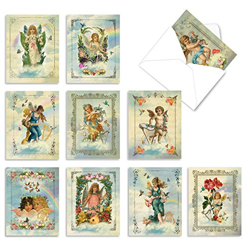 The Best Card Company - 10 Blank Religious Note Cards (4 x 5.12 Inch) - Assorted Bulk Greeting Card Set - Angelic Notes M6446OCB