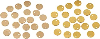 IPOTCH 40x Metal Blank Round Cat Dog Id Pet Tags Disc Dark Gold And Light Gold 8mm