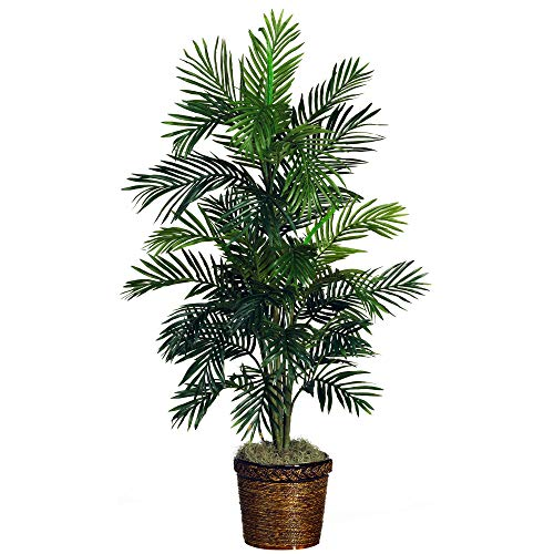 Nearly Natural 5263-0308 56in. Areca Palm Silk Tree with Basket,Green