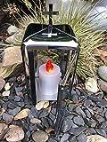 Farolillo de cementerio de acero inoxidable – Cruz incluye vela LED de acero...