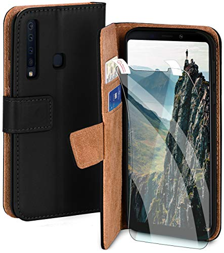 moex Handyhülle für Samsung Galaxy A9 (2018) - Hülle mit Kartenfach, Geldfach & Ständer, Klapphülle, PU Leder Book Hülle & Schutzfolie - Schwarz