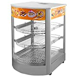 VEVOR 110V 25-Inch Commercial Pizza Warmer Display 3-Tier 1000W Electric Food Warmer Display 86-185℉ Tempered-Glass Door Pastry Display Case with 2 Trays & 1 Bread Tong for Buffet Restaurant