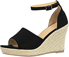 Women Open Toe Wedge Shoe ❀ Ladies Plus Size Buckle Ankle Strap High Heel Sandals Fish Mouth Thick Bottom Breathable Shoe