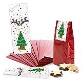 25 bolsas pequeñas de color rojo con base de pergamino (7 x 4 x 20,5 cm) + 25 pegatinas de árbol de navidad (5 x 15 cm) – Embalaje Mini regalos de Navidad bolsas de suelo de cruz para give-away