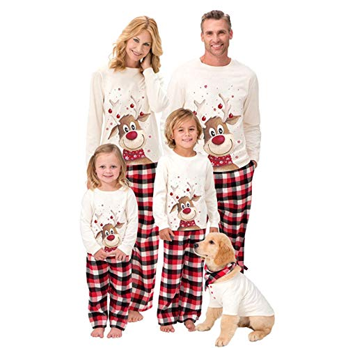 Koloyooya Family Matching Christmas Pajamas Sets Adult Kids Lights Romper Funny One Piece Sleepwear (White, Mom-3XL)