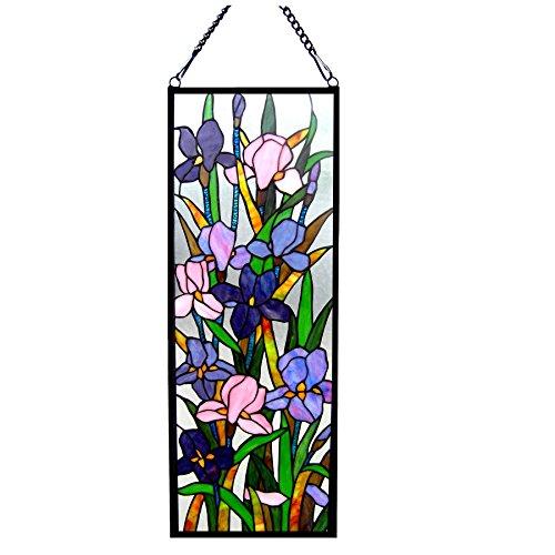 Chloe Lighting Sororia Tiffany-Glass Iris Design Window Panel 11.5X31.5