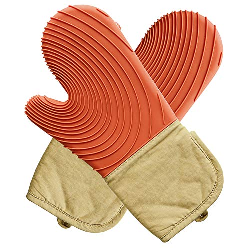 Honglida Silicone Oven Mitts Baking Oven Gloves High Temperature Resistance Heat Insulation Anti-Scalding 2-Piece Silicone KitchenThickened Non-Slip Gloves (Orange)