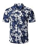 ShallGood Homme Chemise Hawaienne Fleurs Été Casual Manches Courtes Funky Chemise Hawaïenne Imprimer Plage Palmiers Poche-Avant Tops Blouse A Bleu Small