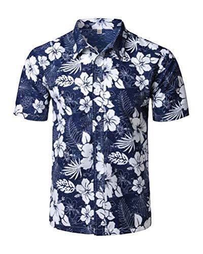 ShallGood Homme Chemise Hawaienne Fleurs Été Casual Manches Courtes Funky Chemise Hawaïenne Imprimer Plage Palmiers Poche-Avant Tops Blouse A Bleu Large