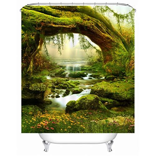 X-Labor Pflanzen Motiv Duschvorhang Wasserdicht Stoff Anti-Schimmel inkl. 12 Duschvorhangringe Waschbar Badewannevorhang 180x200cm Muster-C