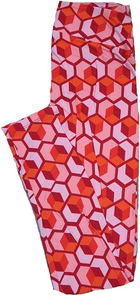 Lularoe One Size OS Valentines Large Red Pink Geometric Cube Hearts Leggings fits Adult Sizes 2-10