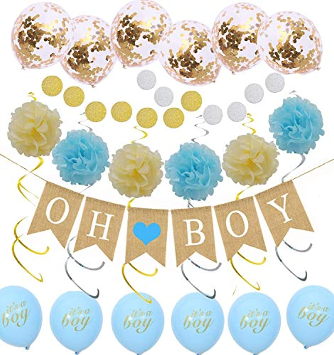 Ujqoah OH BOY Burlap Banner for Baby Shower Decoration with Tissue Paper Pom Poms Latex Balloons Circle Paper Garland and Party Hanging Swrils for Gender Reveal Party Boys Birthday Party Decoration
