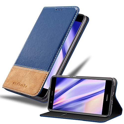 Cadorabo Custodia Libro per Huawei P10 Lite in Blu Scuro Marrone - con Vani di Carte, Funzione Stand e Chiusura Magnetica - Portafoglio Cover Case Wallet Book Etui Protezione
