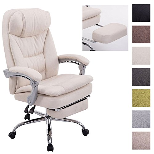 CLP XL Bürostuhl Troy mit Armlehne, Stoff-Bezug, Relaxsessel mit Fußstütze ausziehbar, Chefsessel, Belastbarkeit bis 160 kg, Creme