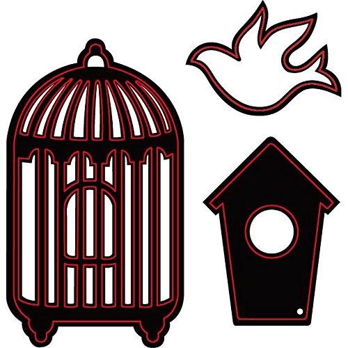 Darice Embossing Essentials-Fustelle per Uccelli, casetta e Gabbia, 3 kg
