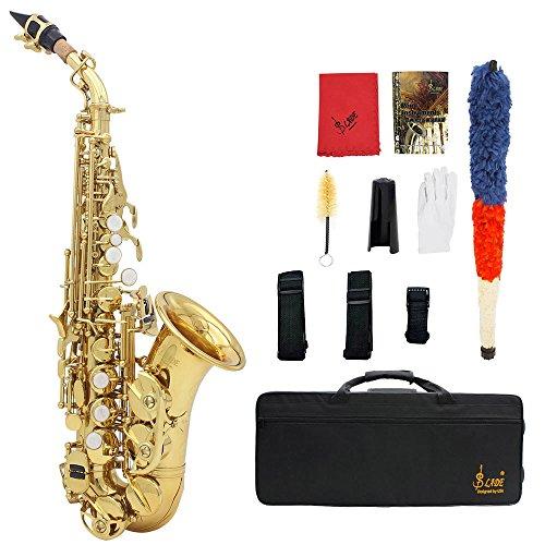 Andoer Messing Golden Schnitzen Muster Bb Bend Althorn Sopran Saxophon Sax Perle Weiße Schale Schaltflächen Blasinstrument mit RS Tuch Fett Gürtel Reinigungsbürste