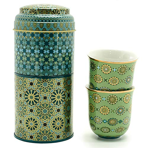 IMAGES D'ORIENT Geschenkset 2 in 1 Metalldosen mit 2 x 90ml Porcalain Espressotassen Espressobecher Moccatassen bunt orientalisch Gemustert