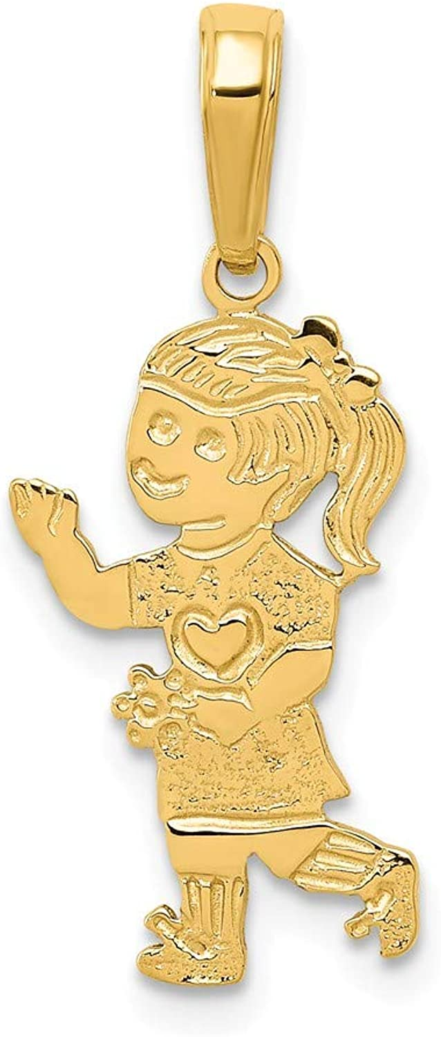 Beautiful Yellow gold 14K Yellowgold 14K Little Girl Walking with Flowers Pendant