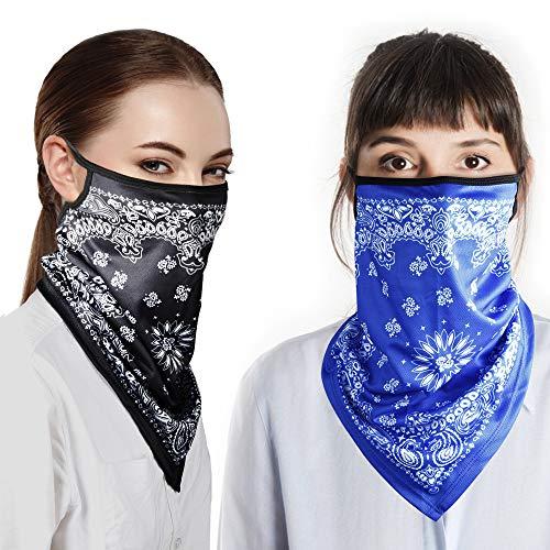 ANEAR 2 Stück Gesichtstücher Gesichtstuch Schlauchschal Bandanas Multifunktionstuch Mundschutz Maske Halb Gesichtsmaske Schlauchtuch Halstuch Motorradmaske Motorrad