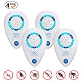 WahooArt Ultrasonic Pest Repeller 4 Pack,2020 Upgraded Electronic Pest Repellent Plug in Indoor Pest Control for Insects, Mosquito, Mouse, Cockroaches, Rats, Bug, Spider, Ant, Human and Pet Safe