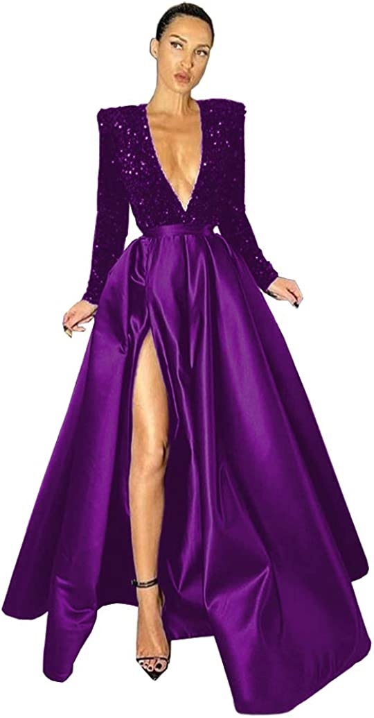 National products Eilemy Women's Long High Split V-Neck Nashville-Davidson Mall Evening Dresse Deep Formal