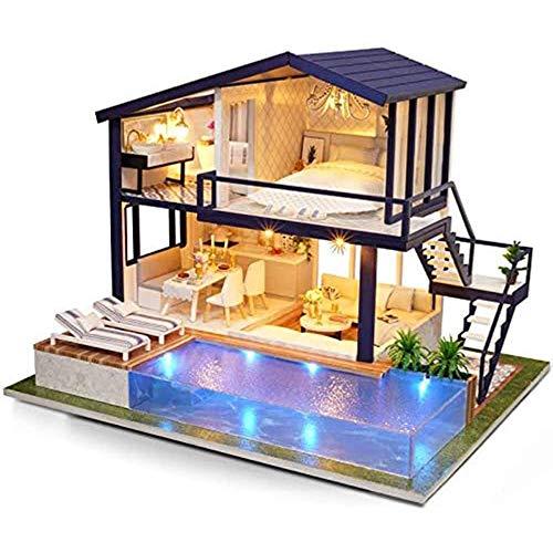 Fikujap Casa de muñecas Miniatura 3D Kit de apartamento de Madera Piscina con Muebles LED Luz Música Movimiento Craft DIY Empresas Juguetes Educativos Navidad