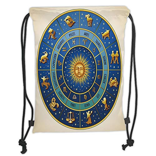 Fevthmii Drawstring Backpacks Bags, Astrology, Wheel of Astrological Signs Names and Dates with Moon Sun in Middle Decorative, Blue Light Blue and Gold Soft Satin, 5 Liter Capacity, Adjustable S