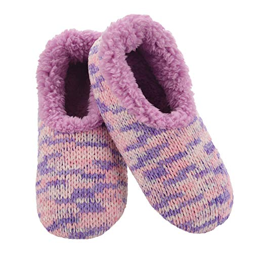 Snoozies Womens Slipper Socks - - Cozy Slippers for Women - Fuzzy House Slippers for Indoor Use - Soft Sole Slippers - Space Dye Chenille - Blue - Medium
