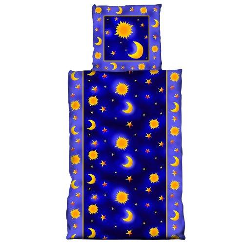 BRUBAKER Microfiber Bedding 'Sun Moon and Stars' Blue duvet cover + pillow Twig