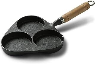 WOHAO Sartén, Olla de Hierro Fundido de Tortilla de 3 Orificios múltiples Funciones del Molde sin revestir de la Hamburguesa
