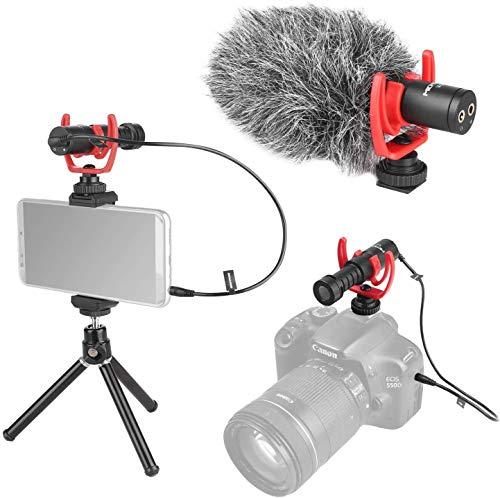FOMITO Micmov V2 Universal Super-Cardioid Condensador Vídeo Micrófono Pistola Grabación Micro Kit con Choque Montaje, Peludo Parabrisas, Teléfono Clip para 3.5mm Interfaz Smartphones, Cámara DSLR,