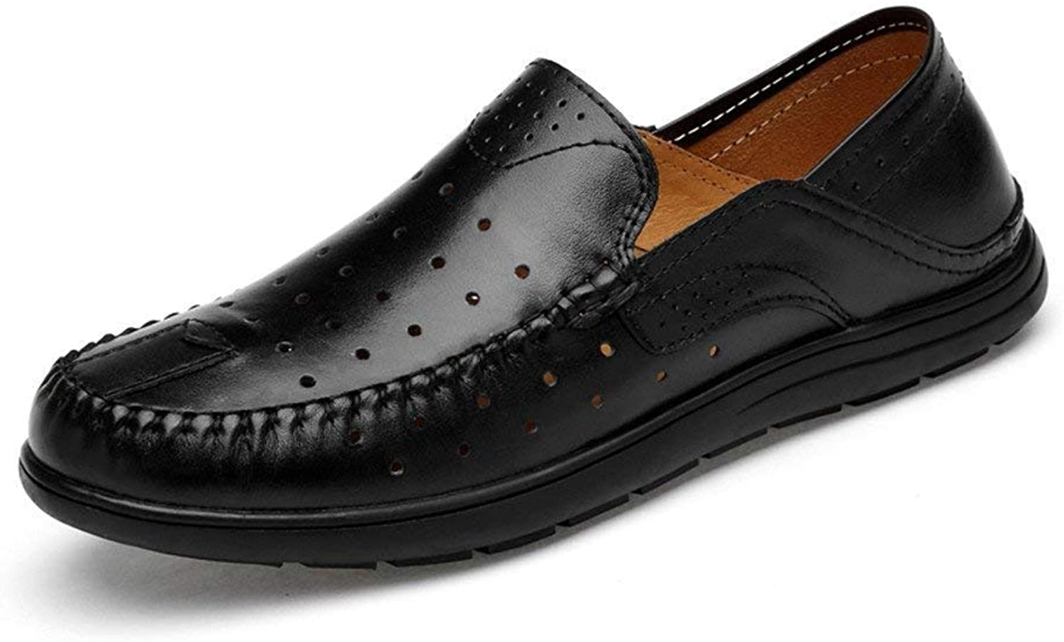 Oudan Men's Moccasins shoes, Men Driving Penny Loafers Patch Vamp Slip-on Casual Boot Moccasins Soft Rubber Sole (color  Hollwo Black, Size  46 EU) (color   Hollwo Black, Size   43 EU)