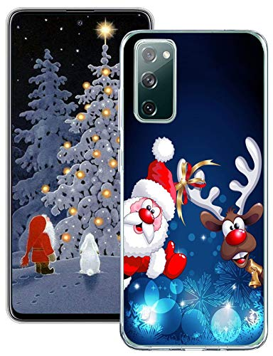 S20 Fe 5G Case Christmas for Samsung Galaxy S20 Fe 5G Case Silicone Clear Cover Case Santa Claus Cute Cases Rubber Shockproof Protective Phone Case for Samsung Galaxy S20 Fe 5G 6.5 Inch Shell Women