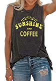 Umsuhu Sunshine and Coffee Tank Casual Summer Graphic Tank Tops for Women Sleeveless Graphic Tank Tops Tee Shirts Gray Large