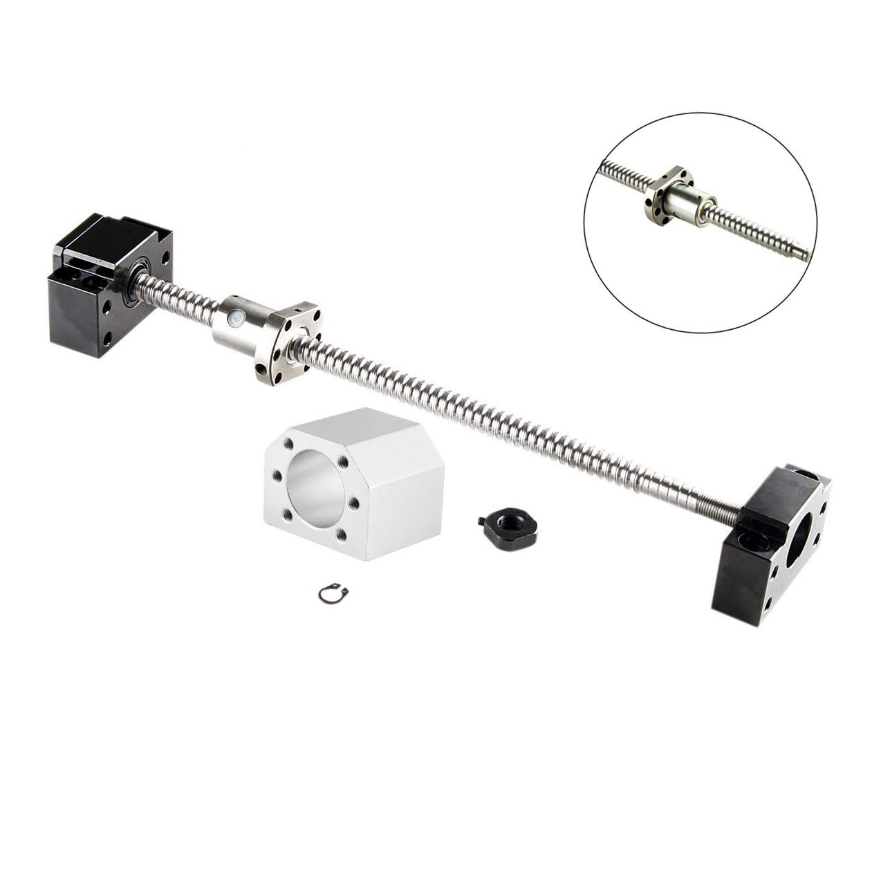 SFU2005-600mm Ballscrew with Metal Max 48% OFF Deflector Nut S BK + Indianapolis Mall BF15 End