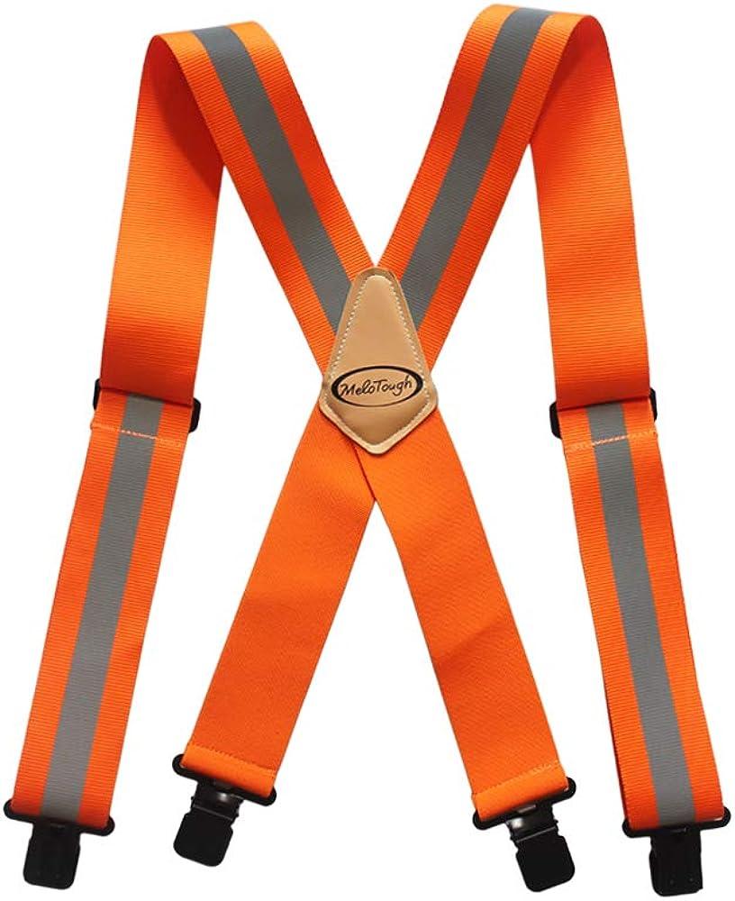 Melo Tough Reflective Safety Suspenders Work Suspenders with Hi Viz Reflective Strip Hold Up Tool Belt Suspenders(Hi Viz orange)…