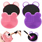TailaiMei 2 Pack Makeup Brush Cleaning Mat with Color Removal Sponge, 2 in 1 Design Silicone Cleaner Pad for Dry Brush Color Switch and Wet Cleaning (Pink&Purple)