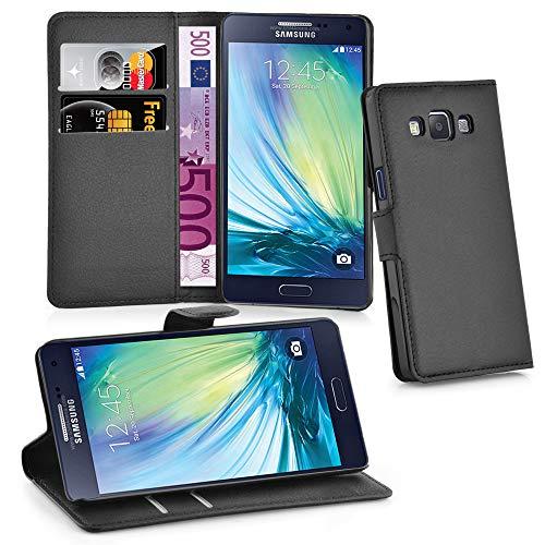 Cadorabo Hülle kompatibel mit Samsung Galaxy A5 2015 (5) Hülle in Phantom SCHWARZ Handyhülle mit Kartenfach und Standfunktion Schutzhülle Etui Tasche