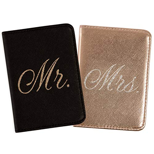 Mirror Mirror Passport Wallets Travel Holder Set: Mr. & Mrs. Slim Waterproof Passport Case Covers & Organizer Slots for ID, Money & Credit Card - Black & Rose Gold