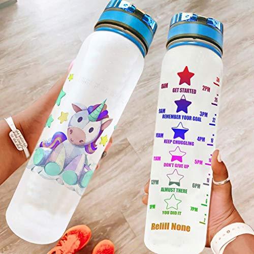 superyu Botella deportiva unicornio Flip Top Clear Bike botella de agua para deportes al aire libre unicornio blanco 1000ml