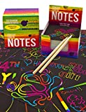 Mini Bloc de Notas Mágico con Hojas de Rascar de Purple Ladybug - 150 Cartulinas Negras Rascables para Dibujar con Niños, Manualidades, Escribir Listas - Incluye 2 Lápices, Fondo Arcoiris