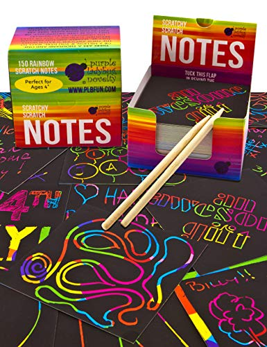 Purple Ladybug Rainbow Scratch Off Mini Art Notes 2 Wooden Stylus Set: 150 Sheets