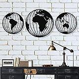 Tres globos del mapa del mundo del metal, arte de la pared redondo del mapa del mundo del metal, decoración de la pared del metal, arte de la pared del metal