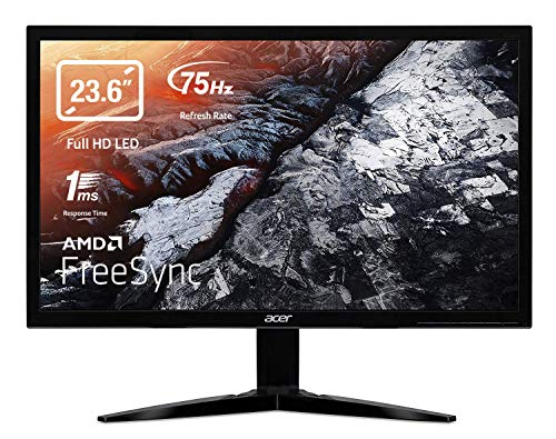 "Acer KG241Qbii Monitor Gaming FreeSync da 23.6"", Display Full HD 1920 x 1080, Speaker Integrati, 75 Hz, 16:9, Tempo di Risposta 1 ms G2G, Luminosità 300 cd/m², VGA, 2 x HDMI, Nero"