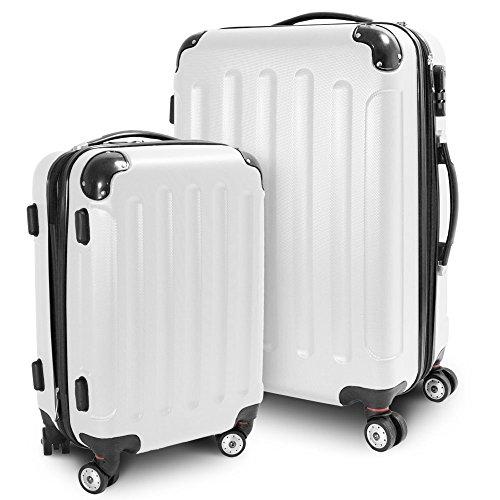 BERWIN Kofferset M + L 2-teilig Reisekoffer Trolley Hartschalenkoffer ABS Teleskopgriff Modell Stripes (Weiß)