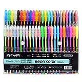 VENJA (LABEL) 48 pcs Neon Color Pen 48 Pc Gel Pens Set Color Gel Pens,Glitter, Metallic, Neon Pens Set Good Gift for Coloring Kids Sketching Painting Drawing